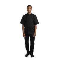 Le Chef Unisex Short Sleeve Chef Jackets Black L  BB140-L