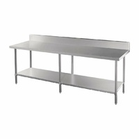 Vogue Premium Stainless Steel Table with Splashback 2400mm DA343