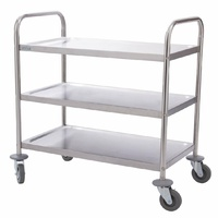 Vogue Stainless Steel 3 Tier Clearing Trolley Small F993