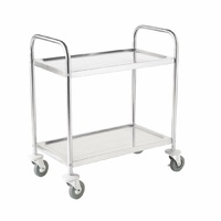 Vogue Stainless Steel 2 Tier Clearing Trolley Medium F997